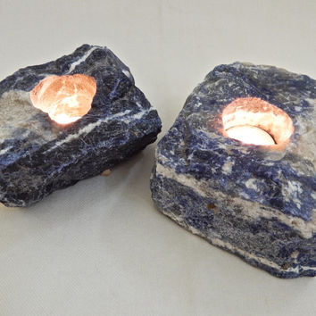 Sodalite Candle Holders in a Set of 2, Blue Raw Stone Votive Candles