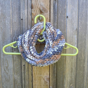 Handmade Crochet Ombre Infinity Scarf For Women, Beige Grey And Brown Cowl, Ear Warmer Winter Accessory For Adults, Ready To Ship