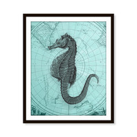 Seahorse Map Art Print Sea Animal Nautical Beach Decor Sea Life Ocean Sea Horse 5x7, 8X10, 11x14 Home Decor Wall Decor