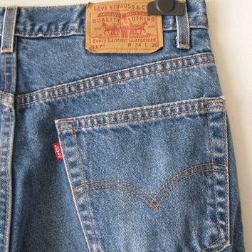Vintage Levis 517 Boot Cut Jeans Made in USA, W 34 L 36 // Vintage Denim