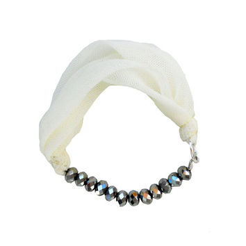 Fabric BRACELET - white textile bangle with silver beads