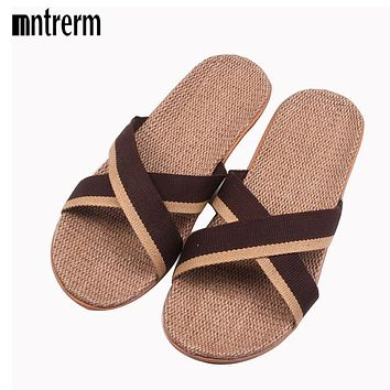 2017 Fashion Home To Fight Cross-Color Linen Slippers Spring Canvas Flax Slippers High quality Large size Men Indoor Slippers