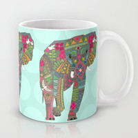 painted elephant aqua spot Mug by Sharon Turner