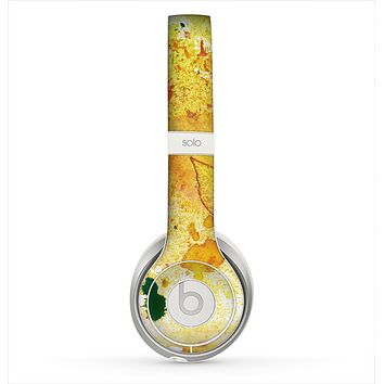 The Yellow Leaf-Imprinted Paint Splatter Skin for the Beats by Dre Solo 2 Headphones