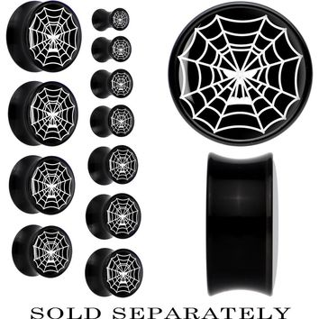 Black Acrylic Spider Web Skull Saddle Plug