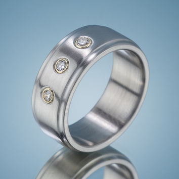 Stainless Steel 3 Diamond Ring
