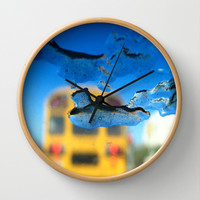 yellow bus and ice Wall Clock by Antoine's  Vision