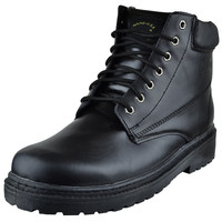 Mens Boots Lace Up Eyelet Napa Leather Hiking Shoes Black SZ