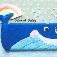 Handmade Felt Happy Whale iPhone 6S Case, Cute Whale Phone Case for iPhone SE, Felt Whale Samsung Galaxy S7 Case, Custom Phone Case