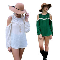 Cutout-Shoulder Sleeve Tassel Shirt