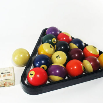 Billiard or Pool Balls Set, Complete, Vintage, with Triangle and Cue Ball