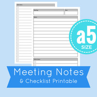 printable meeting notes and checklist, a5 planner printable, a5 planner inserts, discbound inserts, meeting notes, checklist