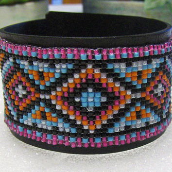 Beaded Cuff Bracelet In Native American Design On Leather