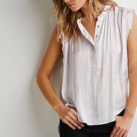 Cap-Sleeved Satin Top