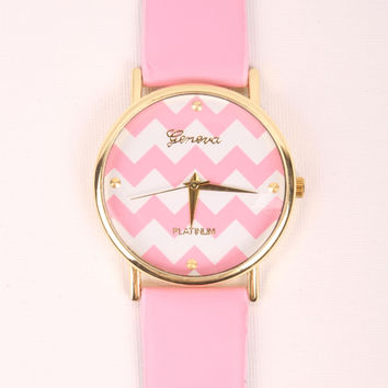 Chevron Print Watch - Pink