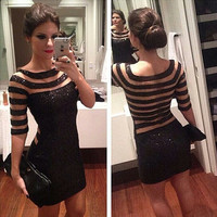 Fashion  Solid Color Perspective Gauze Stripe Stitching Middle Sleeve Tight Pack-hip Sequin Mini Dress