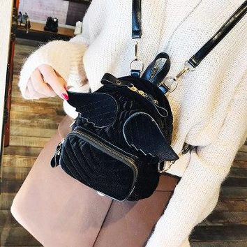 University College Backpack Wings s Bags 2018 Winter New Korean Retro Corduroy  Style AT_63_4