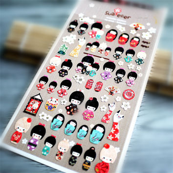 DIY Cute Kawaii Stationery Sticker Lovely Kimono Doll Sticky Paper For Photo Album Scrapbooking Free Shipping 572