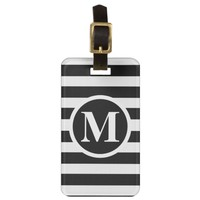 Black and White RFM1 Monogrammed Luggage Tag