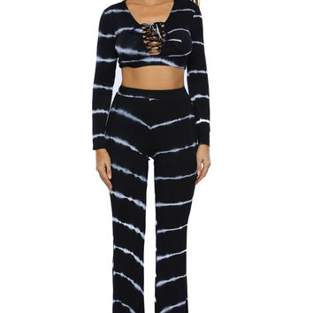 Black Tie Dye Print Sexy Two Piece Pant Set