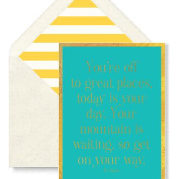 You're Off To Great Places. Greeting Card, Single Folded Card or Boxed Set of 8