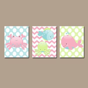 GIRL Ocean Bathroom Wall Art, Baby Nautical Theme Nursery, Beach Decor, Ocean Animals, Lobster Crab Whale Fish Octopus, Girl Boy, Set of 3