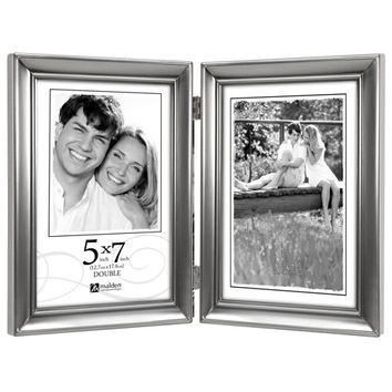 Malden Concourse Pewter Hinged Picture Frame Double Vertical