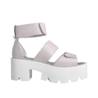 Velcro Strap Leather Platform Sandals