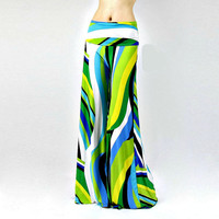 Women's Damask Boho Green & Blue Wave Pattern High Waist Fold Over Palazzo Pants Yoga Pants