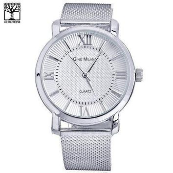 Jewelry Kay style Men's Fashion Silver Plated Mesh Metal Band Watches Stainless Steel WM 7919 S