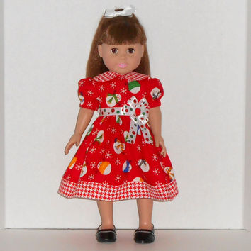 American Girl Doll Red Christmas Dress with Snowmen & Polka Dots