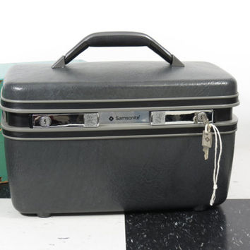 Samsonite 2800 Dark Gray Train Case With Mirror Tray + Keys . U.S.A. . Nice Vintage Luggage . Hardside Suitcase