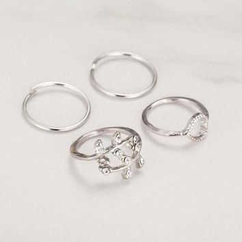 4 Set Rings Urban Gold Crystal Plain Cute Above Knuckle Ring Band Midi Ring Set auger leaves 4 ring