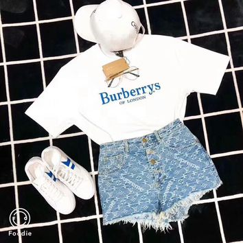 """Burberry"" ""Louis Vutitton"" Women Casual Fashion Letter Embroidery Short Sleeve T-shirt Tassel Denim Shorts Set Two-Piece"