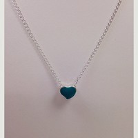 NWOT teal and silver heart pendant necklace