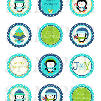 Christmas tags. Christmas cupcake toppers. Christmas tags, stickers, labels, envelope seals. 2'' circles. Digital file.