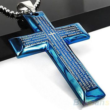 Men's Jewelry Black Blue Spanish Letter Stainless Steel Bible Cross Pendant Chain Necklace Hot Selling
