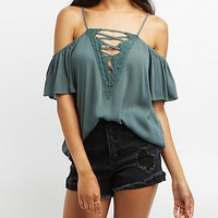 Lattice Crochet-Trim Cold Shoulder Top