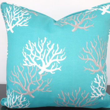 Turquoise outdoor pillow cover 18x18, coral pillow cover for beach house decor, aqua blue and gray cushion cover, beach cottage pillow
