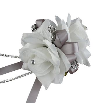 2 Roses Corsage On Pearl Wristband (9 options)