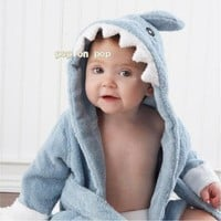 Blue Shark Baby Bath Towels Newborn Blanket Bedding Swaddle Bebe Bathrobe Hooded Bathing Towel baby stuff