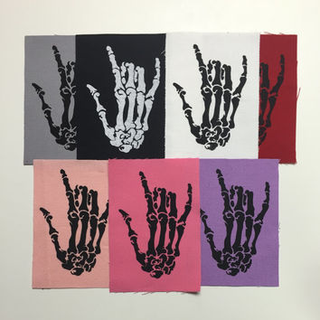 Skeleton Hand Canvas Fabric Patch Rock Rockstar Fingers Metal Horns Creepy Horror Punk Goth Halloween Gothic Dark Hell Red Gray White Pink