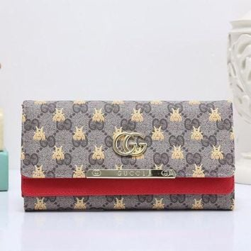 DCCK GUCCI Bee Women Fashion Embroidery Leather Buckle Wallet Purse4