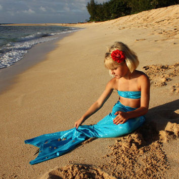 Mermaid Tail with Bandeau Top by OnceUponAMermaid on Etsy
