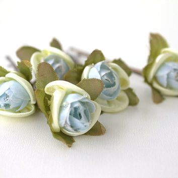 Set of 6  Blue and Yellow Hair Clips, Bridal Hair Accessories, Wedding Hair Accessories - Set of 6