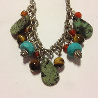 """Turquoise Red Coral Necklace Adjustable 19.5"""" Silver Vintage Jewelry Tribal Southwestern Birthday Christmas Gift"""