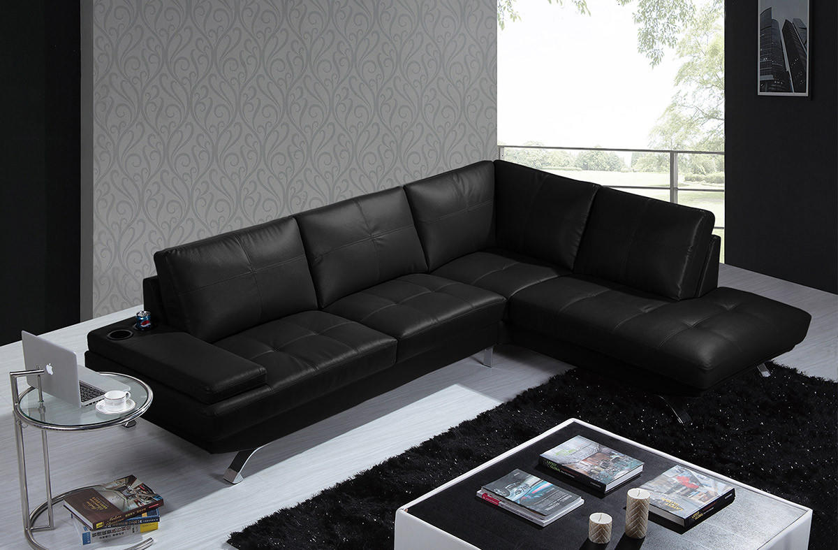 Divani Casa Knight Modern Black Leather Sectional Sofa
