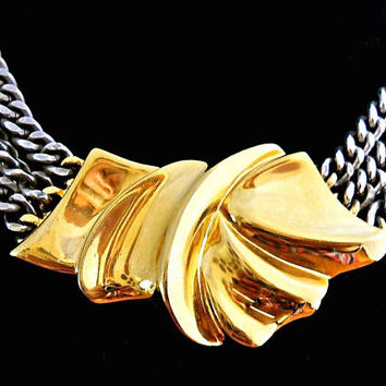 Gold Bow Three-Tone Chain Necklace, Gold Pewter Silver, Triple Strand and Vintage