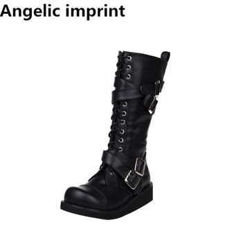 Angelic imprint mori girl Women punk motorcycle boots lady lolita Boots woman low heels wedges pumps princess shoes 33-47 3cm