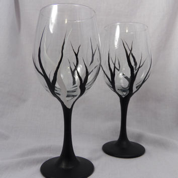 Hand Painted Black and White Tree Wine Glass, Dishwasher Safe, painted wine glass, hand painted glass, black tree glass, White Tree glass
